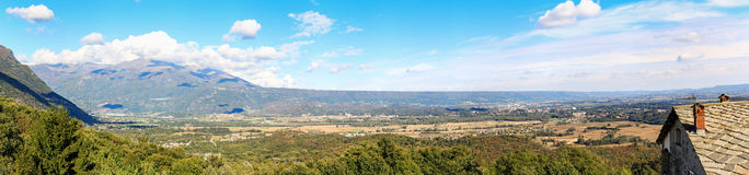 Panoramic view of the Serra of Ivrea, a long hill created during the last ice age Royalty Free Stock Photos