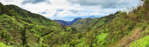 Panoramic  view of Serra Malagueta mountains in Santiago Island Royalty Free Stock Images