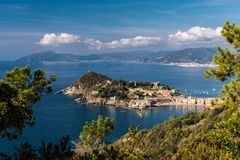 Panoramic view of Sestri Levante and its promontory; coastline of Liguria in the background Royalty Free Stock Photos