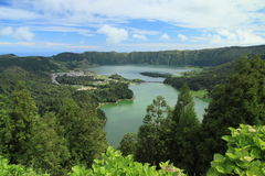 Panoramic view on Sete Cidades and lakes Stock Images