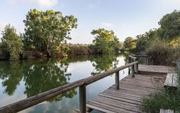 Panoramic view at the setting sun on the remains of a wooden pier on the bank of the Alexander river, near Kfar Vitkin settlement. In northern Israel royalty free stock images