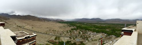 Panoramic view of the settlement around Thiksay Monastery Stock Photography