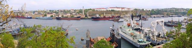 Panoramic view of Sevastopol Bay Stock Photography