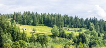 Panoramic view of several houses on a hill. In ukrainian alpine village Staishche. Carpathian Mountains in the beginning of autumn Royalty Free Stock Image