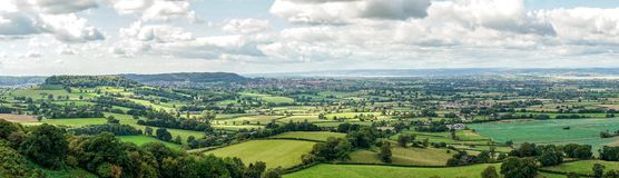 Panoramic view of the Severn Valley from Coaley Peak in Gloucestershire, England stock photos