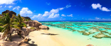 Panoramic view of Seychelles island Stock Photos