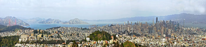 Panoramic View of SFO City USA Stock Photo