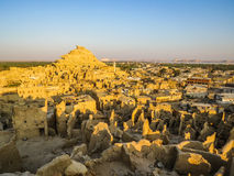 A Panoramic View From Shali Fortress in Siwa at Sunrise Stock Image