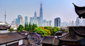 Panoramic view of the Shanghai down town from the Old City. Stock Images