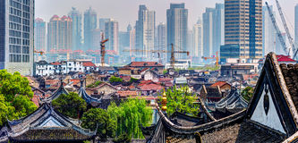 Panoramic view of the Shanghai down town from the Old City. Royalty Free Stock Image