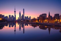 Panoramic view of shanghai Lujiazui skyline during sunrise , business district of an attractive citie in China royalty free stock images
