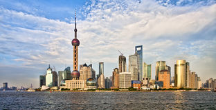 Panoramic view of Shanghai skyline at sunset Stock Photography