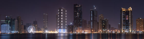 Panoramic view of Sharjah. A panoramic night view of sharjah Stock Photos