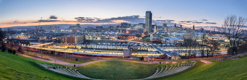 Panoramic view of Sheffield. City from the amphitheatre Royalty Free Stock Photography