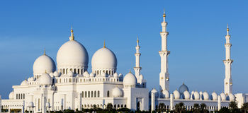 Panoramic view of Sheikh Zayed Grand Mosque Stock Photos