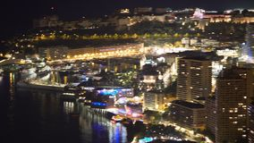 Panoramic view of shining nightlife in Monaco state, high energy consumption. Stock footage stock video