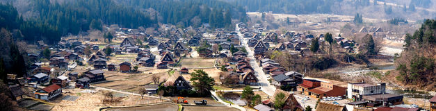 Panoramic view of Shirakawa-go village, Japan Stock Photos