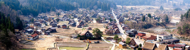 Panoramic view of Shirakawa-go village in spring, Japan Royalty Free Stock Images