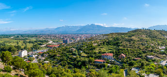 Panoramic view at Shkodra city Royalty Free Stock Images