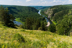 Panoramic view of Shulgan tash nature reserve, Bashkortostan, Russia. Aerial view Royalty Free Stock Photo