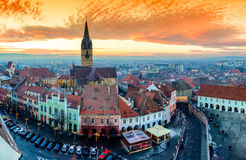 Panoramic view of Sibiu central square in Transylvania Romania Stock Images