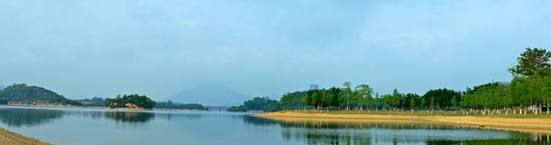 Panoramic view, sights of Songshan Lake. In the morning of the spring, the scenery on the way. Photographed at Songshan Lake in Dongguan Stock Image
