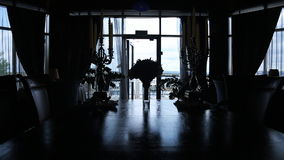 Panoramic view of silhouettes of aristocratic room decorated. Landscape seen in portrait window is adorable with clear blue sky and terrace. There is old house stock footage