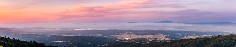 Panoramic view of Silicon Valley and the San Francisco bay area at sunset; Stanford University, Menlo Park, Mountain View, Redwood royalty free stock photo