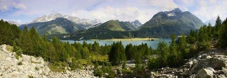 Panoramic view of Sils Lake Stock Image