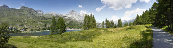 Panoramic view of Sils Lake Stock Photos
