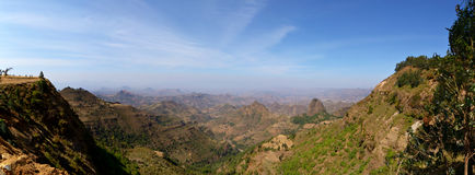 Panoramic view from the Simien Mountains. National Park overlooking the Ethiopian plateau, under hard light condition. 4 single photos stitched Royalty Free Stock Photos
