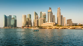 Panoramic view of Singapore Central Business District (CBD) in the morning. Royalty Free Stock Photos
