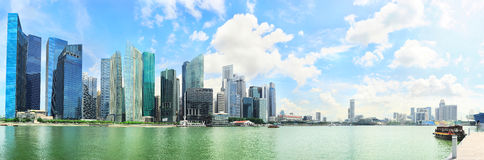 Panoramic view on Singapore city center Royalty Free Stock Photography