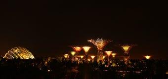 Panoramic view of Singapore city at night Stock Photo