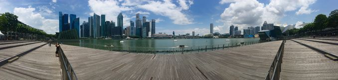 Panoramic view of Singapore Marina Band Sands area royalty free stock photos