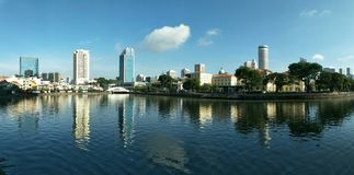 Panoramic View of Singapore River stock photography
