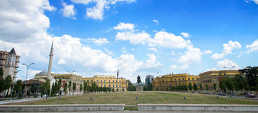 Panoramic view Skanderbeg square with flag and Skanderberg statue monument in the city center of Tirana. Tirana is capital of Alba Royalty Free Stock Images