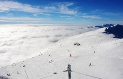 View of the ski slopes and clouds in the Low Tatras, Slovakia. Stock Photography