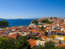 Panoramic view of the Skiathos City, Skiathos Island, Greece Stock Photos
