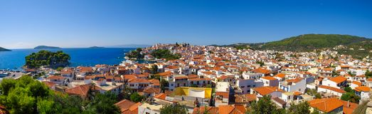 Panoramic view of the Skiathos City, Skiathos Island, Greece. And Aegean Sea in the backround Royalty Free Stock Image