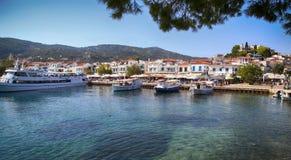 Skiathos Island in Greece. Panoramic view of Skiathos town on Skiathos Island in Greece royalty free stock photos