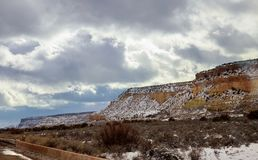 Panoramic View at the sky in the mountains of road to the rockies New Mexico. Snowy panoramic view at the sky in the mountains of road to the rockies New Mexico royalty free stock photography
