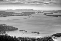 Panoramic view of the sky, sea and mountain seen from Cable Car viewpoint, Langkawi. Picturesque landscape with mountains and tropical forests, small Islands in Stock Photography