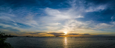 Panoramic view of sky and sea with Si Chang island background Stock Photo