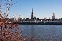 Panoramic view of the skyline of Antwerp. With the cathedral of our lady Royalty Free Stock Photo