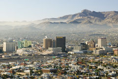 Panoramic view of skyline and downtown El Paso Texas looking toward Juarez, Mexico royalty free stock image