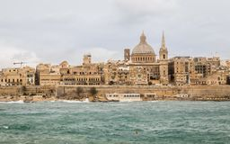 Panoramic View on the Skyline of historical Valletta during a stormy day royalty free stock photography