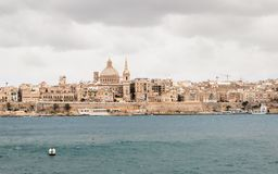 Panoramic View on the Skyline of historical Valletta during a stormy day stock photography