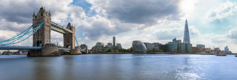 Panoramic view of the skyline of London on a sunny summer day. Panoramic view of the skyline of London: from Tower Bridge to London Bridge on a sunny summer day royalty free stock images