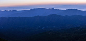 Panoramic view of skyline with mist and mountain at Doi Pha Hom Pok, the second highest mountain in Thailand,Chiang Mai, Thailand Stock Image